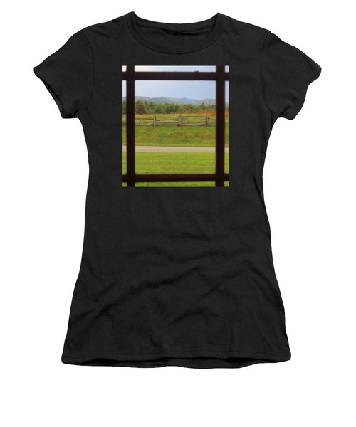 Fall Mountains Through The Window  Women's T-Shirt (Athletic Fit)