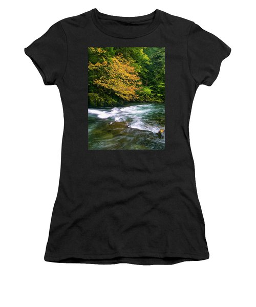 Fall On The Clackamas River, Or Women's T-Shirt (Athletic Fit)