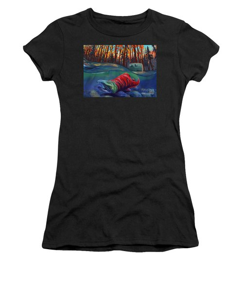 Fall Salmon Fishing Women's T-Shirt (Athletic Fit)