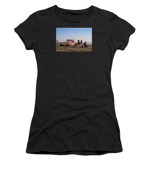 Family At Ocean Beach With Dogs Women's T-Shirt