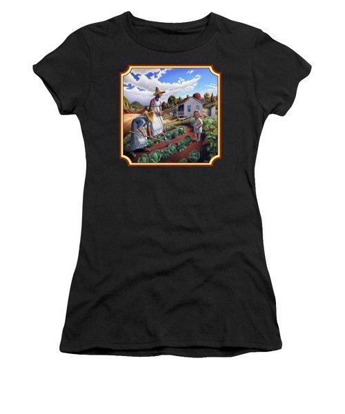 Family Garden Country Farm Landscape - Square Format Women's T-Shirt