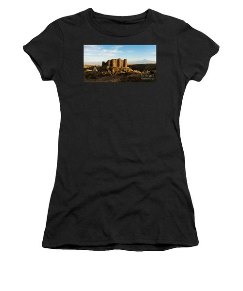 Famous Amberd Fortress With Mount Ararat At Back, Armenia Women's T-Shirt (Athletic Fit)