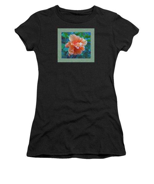 Fancy Peach Hibiscus Women's T-Shirt (Athletic Fit)