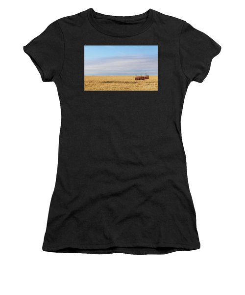 Farm Trailer In The Middle Of Field Women's T-Shirt