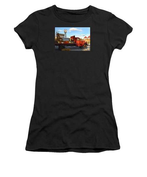Farm With Red Truck In Fall  Women's T-Shirt (Athletic Fit)