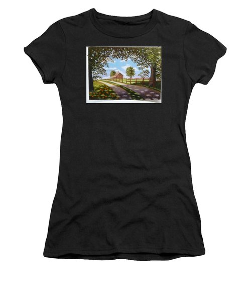 Farmhouse Framed By Trees Women's T-Shirt (Athletic Fit)