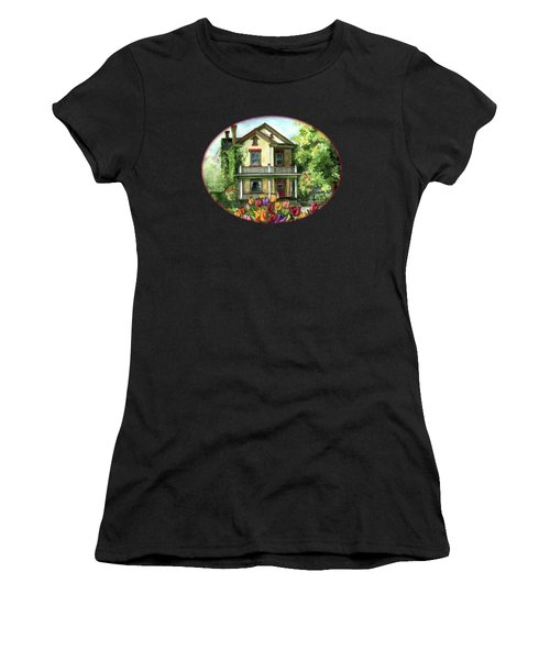Farmhouse With Spring Tulips Women's T-Shirt