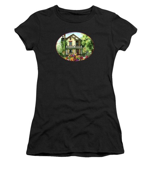Farmhouse With Spring Tulips Women's T-Shirt (Athletic Fit)