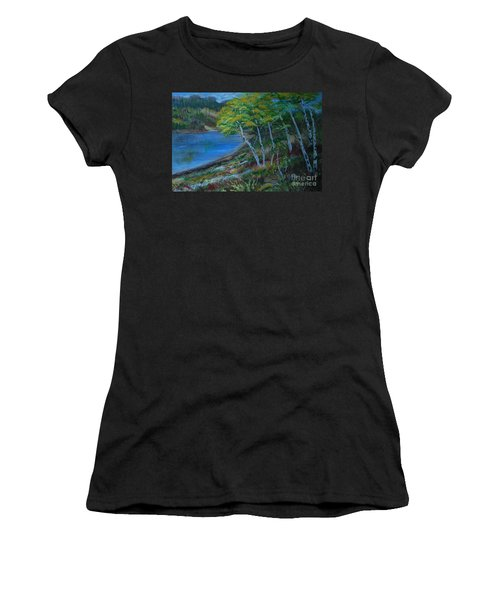 Women's T-Shirt (Junior Cut) featuring the painting Favorite Fishin' Hole by Leslie Allen