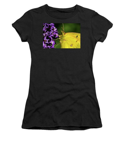 Women's T-Shirt (Junior Cut) featuring the photograph Feeding Butterfly by Jay Stockhaus