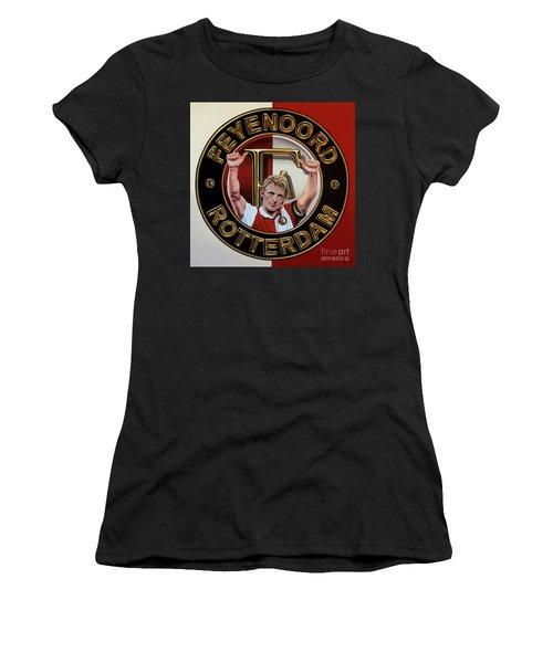 Feyenoord Rotterdam Painting Women's T-Shirt (Junior Cut) by Paul Meijering