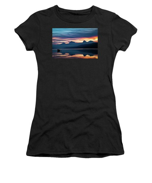 Women's T-Shirt (Athletic Fit) featuring the photograph Fiery Sunrise At Mcdonald Lake, Gnp by Lon Dittrick
