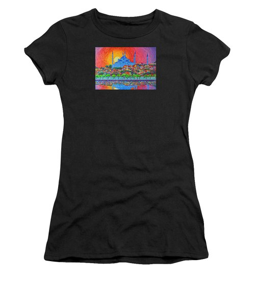 Fiery Sunset Over Blue Mosque Hagia Sophia In Istanbul Turkey Women's T-Shirt (Athletic Fit)