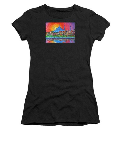 Fiery Sunset Over Blue Mosque Hagia Sophia In Istanbul Turkey Women's T-Shirt