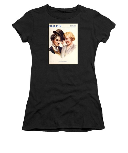 Film Fun Classic Comedy Magazine Featuring Charlie Chaplin And Girl 1916 Women's T-Shirt