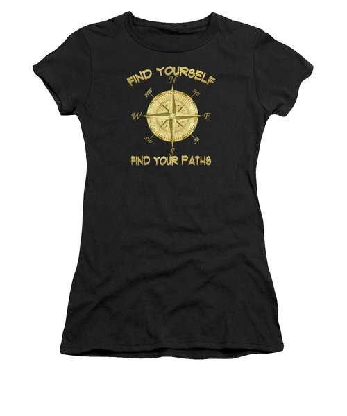 Women's T-Shirt (Junior Cut) featuring the painting Find Yourself Find Your Paths by Georgeta Blanaru