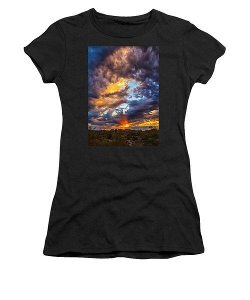 Finger Painted Sunset Women's T-Shirt (Junior Cut) by Rick Furmanek
