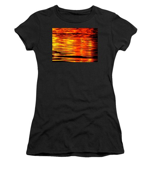 Fire At Night On The Water Women's T-Shirt (Athletic Fit)