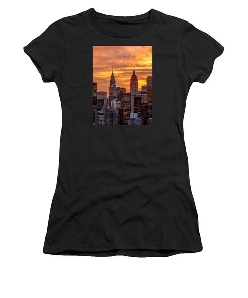 Women's T-Shirt (Junior Cut) featuring the photograph Fire In The Sky by Anthony Fields