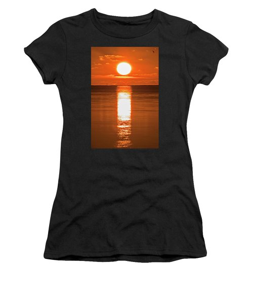 Women's T-Shirt (Athletic Fit) featuring the photograph First Key West Sunrise 2018 F by Bob Slitzan