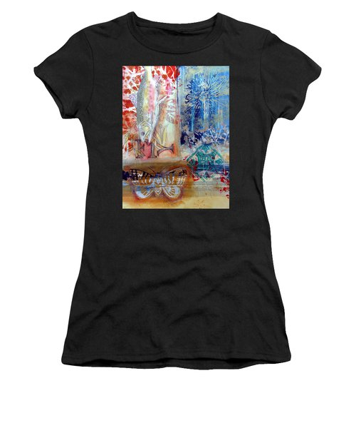 Women's T-Shirt featuring the mixed media Fish Collage #1 by Rose Legge