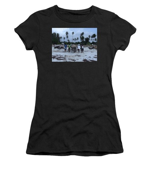 Fisherman Heading In From Their Days Catch At Sea With A Wooden Dhow Women's T-Shirt (Athletic Fit)