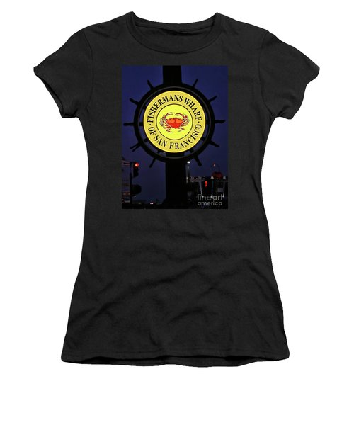 Fishermans Wharf Sign At Night Women's T-Shirt (Athletic Fit)