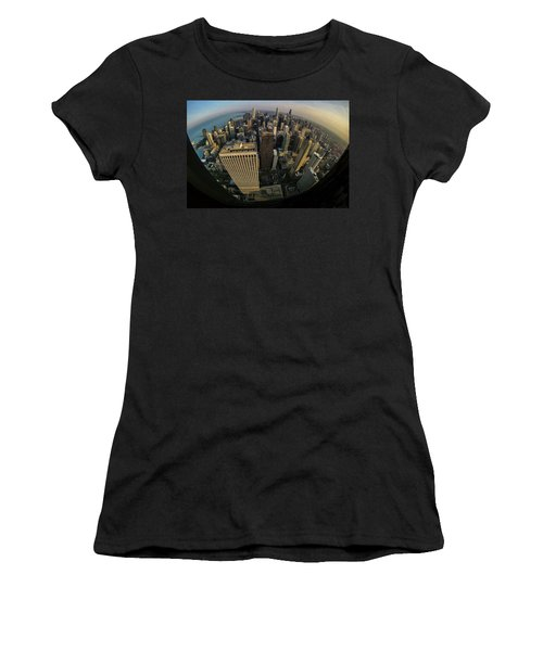 Fisheye View Of Dowtown Chicago From Above  Women's T-Shirt (Athletic Fit)