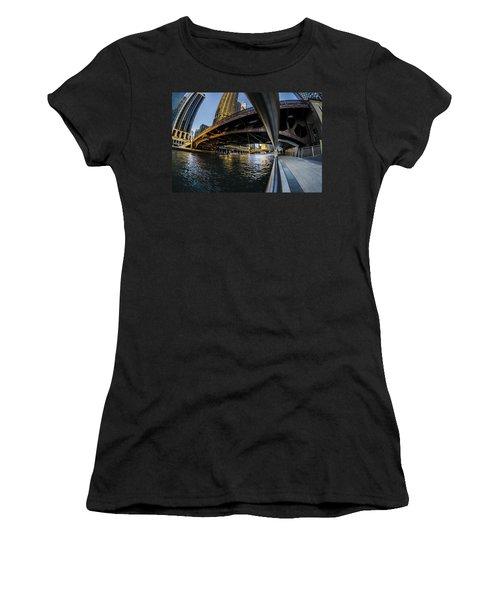 Fisheye View From The Chicago Riverwalk Women's T-Shirt