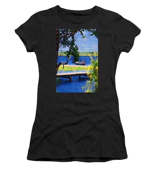 Women's T-Shirt (Junior Cut) featuring the photograph Fishin by Donna Bentley