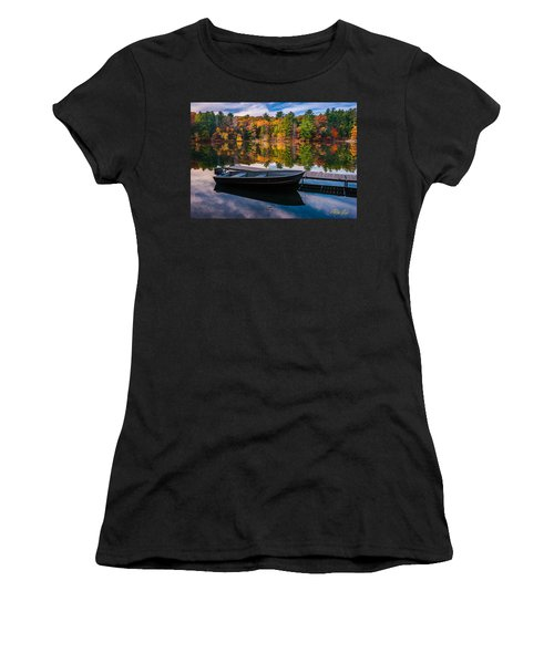 Fishing Boat On Mirror Lake Women's T-Shirt