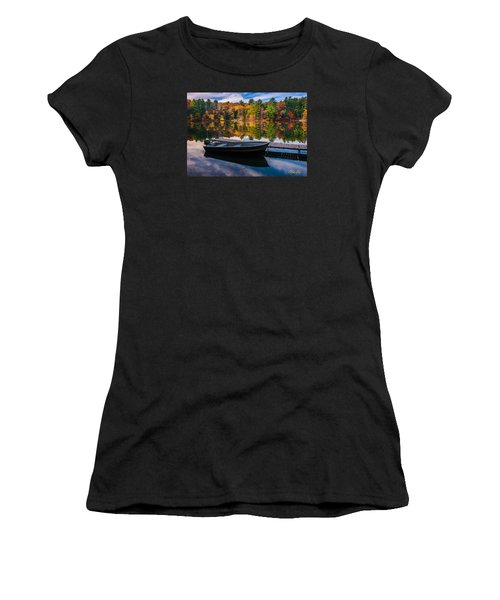 Women's T-Shirt featuring the photograph Fishing Boat On Mirror Lake by Rikk Flohr