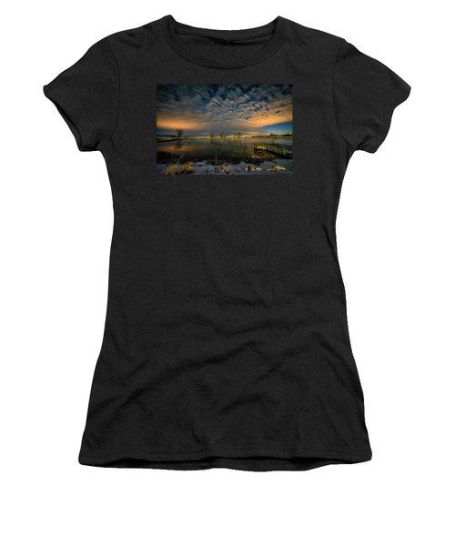 Fishing Hole At Night Women's T-Shirt (Junior Cut) by Fiskr Larsen
