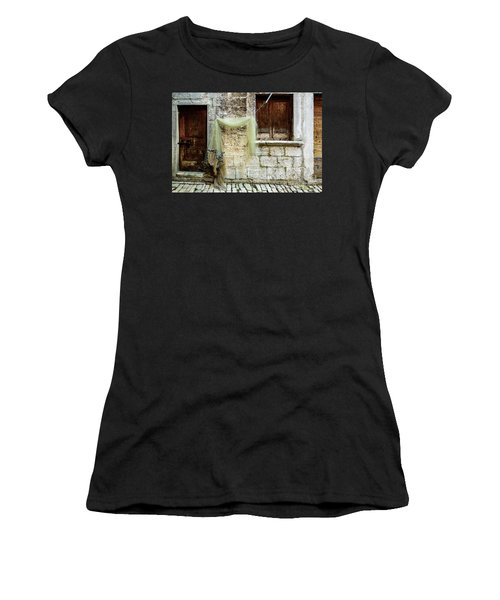 Fishing Net Hanging In The Streets Of Rovinj, Croatia Women's T-Shirt