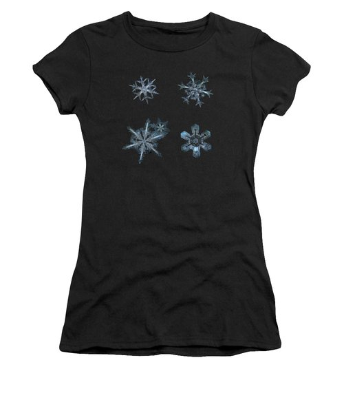 Five Snowflakes On Black 3 Women's T-Shirt