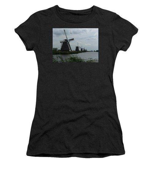 Five Windmills In Kinderdijk Women's T-Shirt (Athletic Fit)