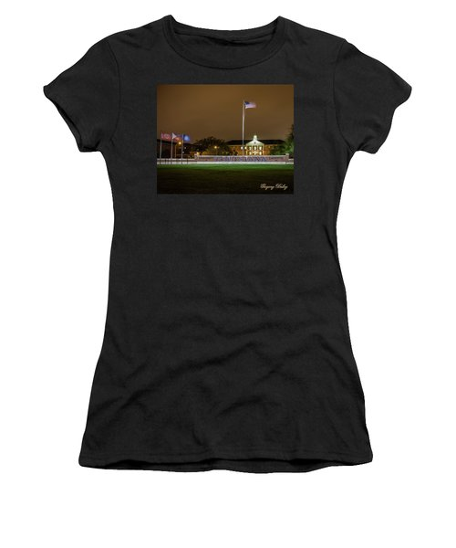 Women's T-Shirt (Junior Cut) featuring the photograph Flag At Night In Wind by Gregory Daley  PPSA