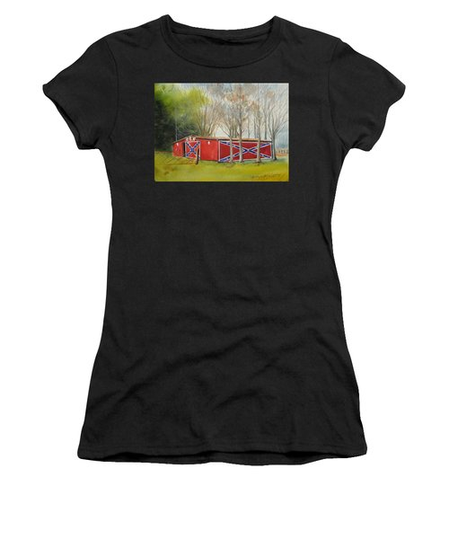 Flag Barn Women's T-Shirt (Athletic Fit)