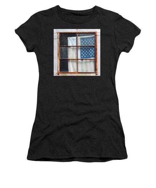 Flag In Old Window Women's T-Shirt