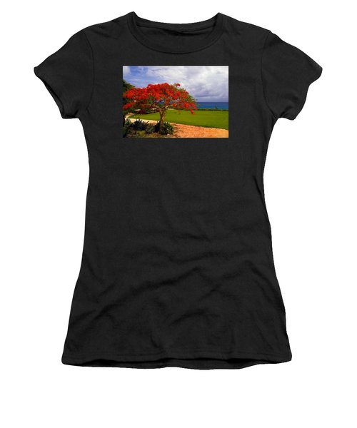 Flamboyant Tree In Grand Cayman Women's T-Shirt (Athletic Fit)