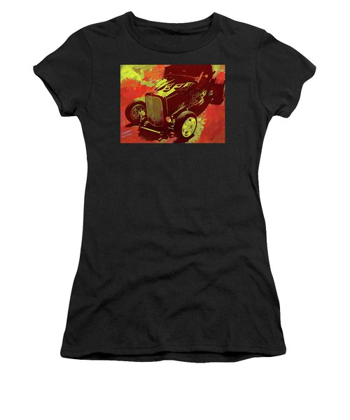 Flamed 1932 Ford Roadster Hot Rod Pop Red Women's T-Shirt (Athletic Fit)
