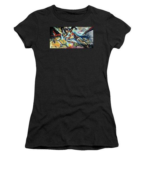 Women's T-Shirt featuring the painting Flat Run by John Jr Gholson