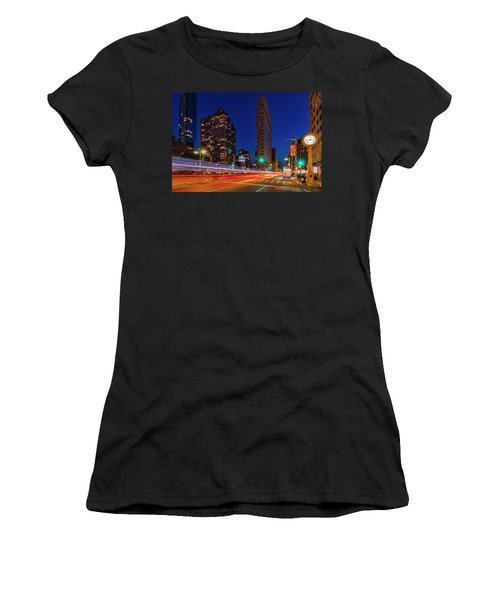 Women's T-Shirt (Athletic Fit) featuring the photograph Flatiron 5th Ave Clock Nyc  by Susan Candelario