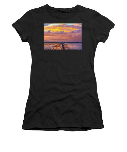 Flooded Field At Sunset Women's T-Shirt