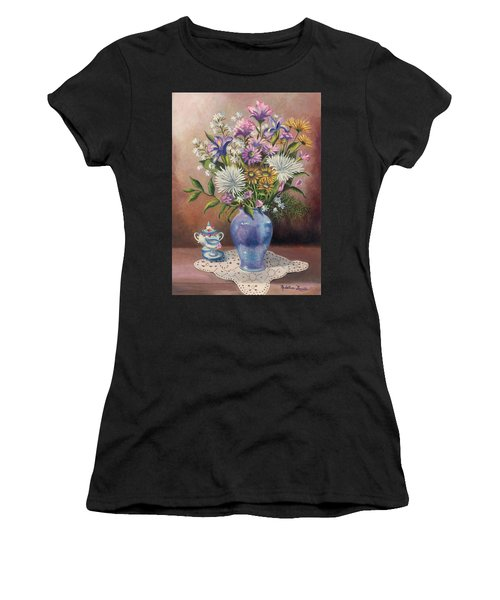 Floral With Blue Vase With Capadamonte Women's T-Shirt (Athletic Fit)