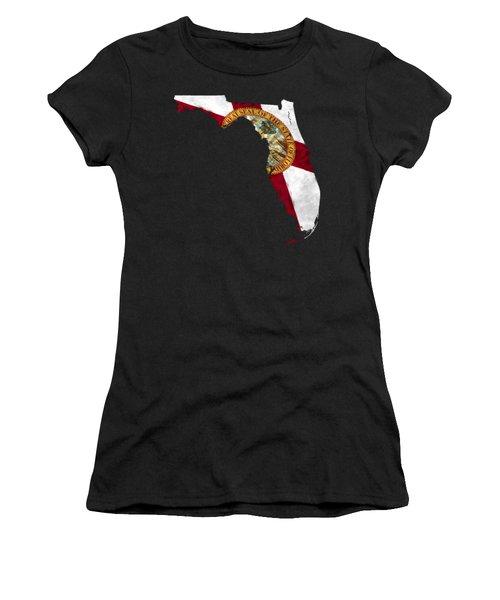 Florida Map Art With Flag Design Women's T-Shirt