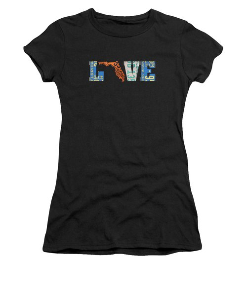 Florida State Love Heart License Plates Art Phrase Women's T-Shirt