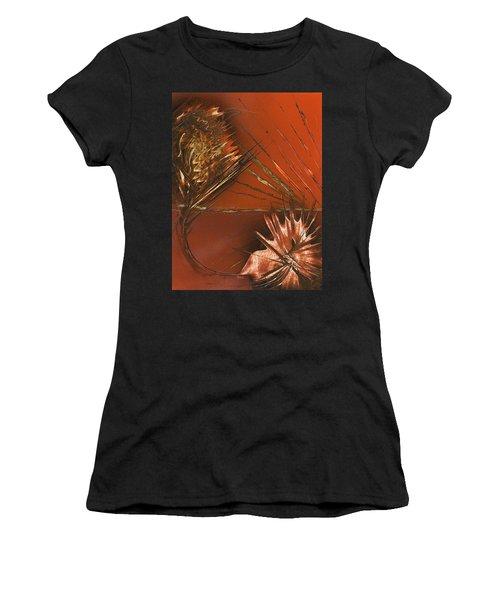 Flower Abstract In Orange And Brown Women's T-Shirt