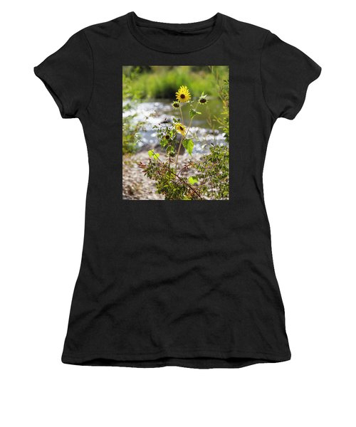Flower By Stream Women's T-Shirt (Athletic Fit)
