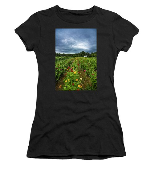 Flower Field At North Sea Farms Women's T-Shirt (Athletic Fit)